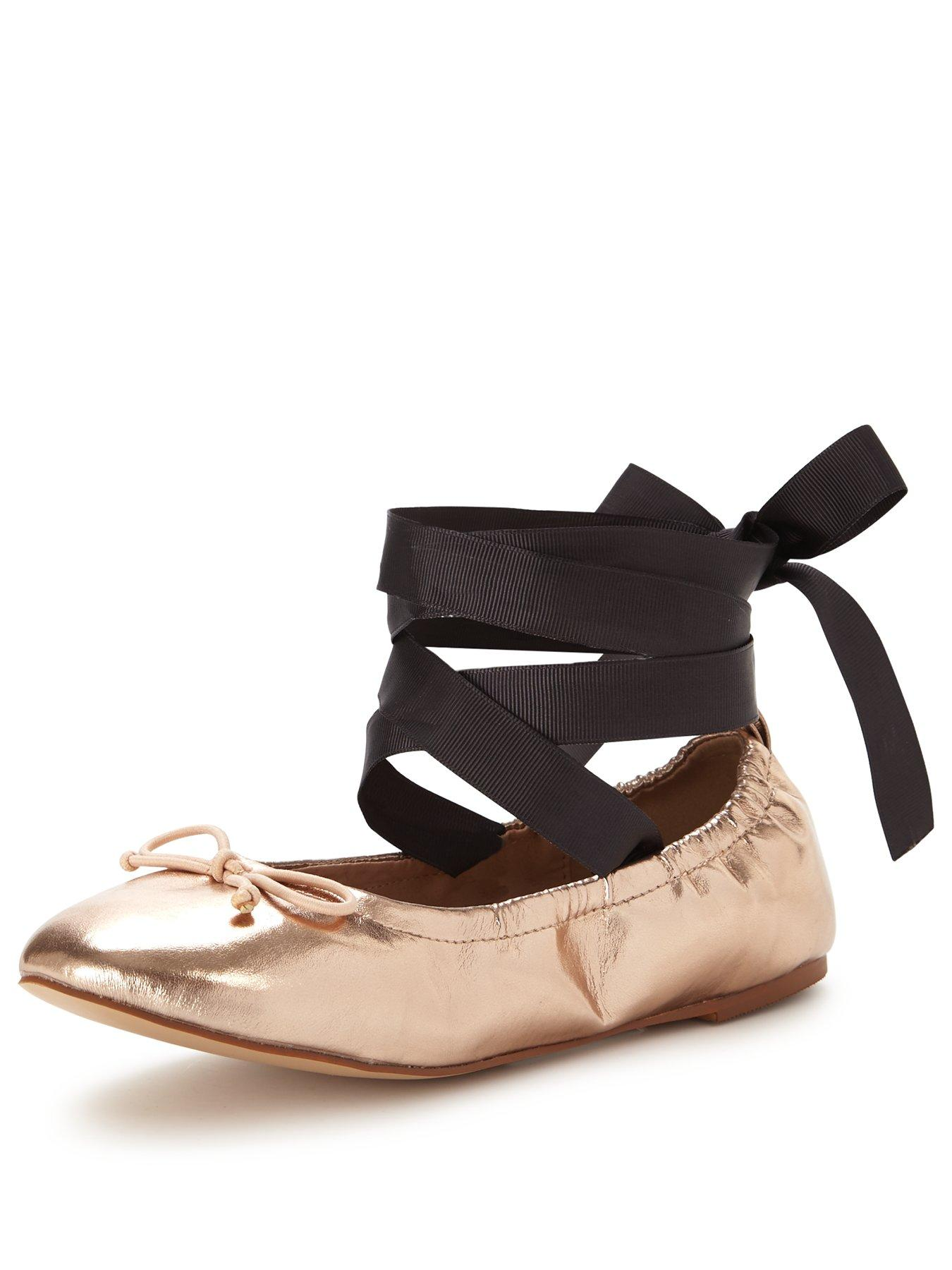 Discount V by Very Bluebell Tie Around Rose Gold Ballerinas for Women On Sale