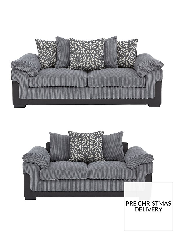 Phoenix Fabric and Faux Leather 3 Seater + 2 Seater Sofa Set (Buy and SAVE!)