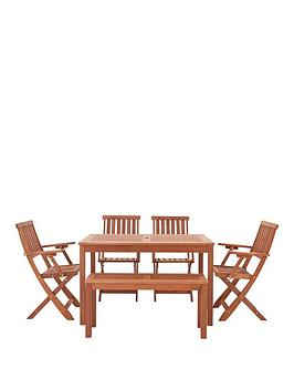 lingfield-picnic-table-with-bench-amp-4-foldable-chairs