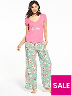 v-by-very-aloha-frilled-top-pyjama-set