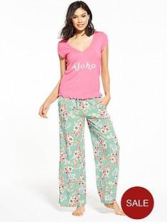 v-by-very-aloha-frilled-top-pyjama-set
