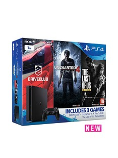 playstation-4-slim-1tb-console-with-uncharted-4-a-thiefs-end-the-last-of-us-remastered-and-driveclub-plus-optional-extra-controller-andor-12-months-psn