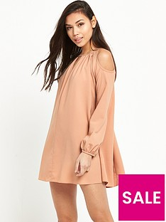 glamorous-cold-shoulder-swing-dress-pink