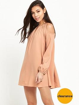 glamorous-cold-shoulder-swing-dress-pink