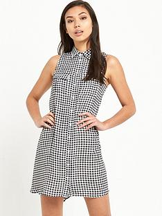 glamorous-gingham-sleeveless-swing-dressnbsp