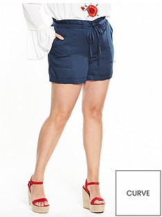 v-by-very-curve-curve-paper-bag-waist-viscose-short-navy