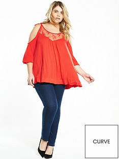 v-by-very-curve-curve-cold-shoulder-tie-shoulder-top-orange-red