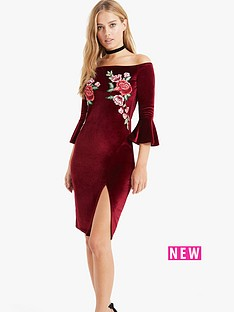 girls-on-film-girls-on-film-midi-velvet-fluted-sleeves-embroidery-dress