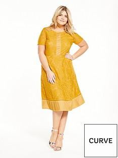 lovedrobe-multi-lace-short-sleeve-skater-dress-mustard