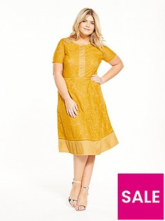 lovedrobe-multi-lace-short-sleeve-skater-dress-mustard