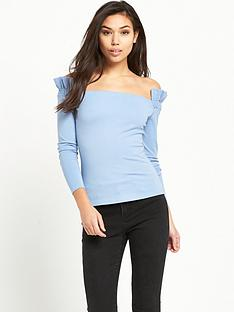 lost-ink-shirred-sleeve-bardot-top-light-blue
