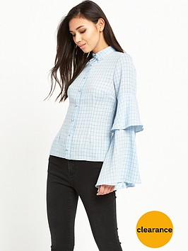 lost-ink-tier-sleeve-check-shirt-light-blue