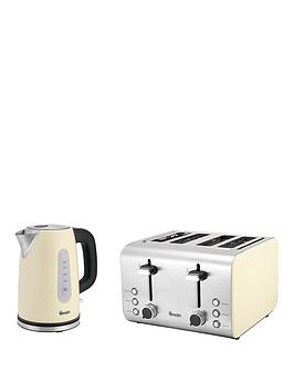 Swan Sk13151C Stainless Steel Kettle &Amp; St70130C 4-Slice Toaster Twin Pack - Cream thumbnail