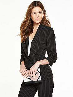 v-by-very-pinstripe-ruched-sleeve-blazer