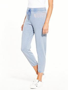 Juicy By Juicy Couture Trk Knit Slim Juicy Track Bottom - Washed Indigo