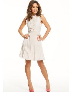 myleene-klass-pleated-lace-panel-tea-dress-blush