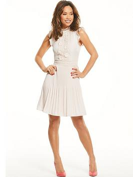 myleene-klass-pleated-lace-panel-tea-dress-blush