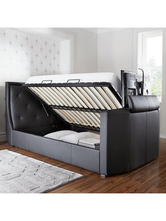 Estates Faux Leather Lift-Up Storage TV Bed Frame with Mattress ...