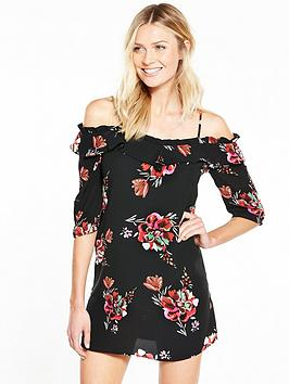 v-by-very-printed-cold-shoulder-swing-dress