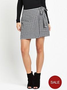 fashion-union-gisele-gingham-skirt-black