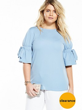 lost-ink-curve-tie-sleeve-lace-up-back-top