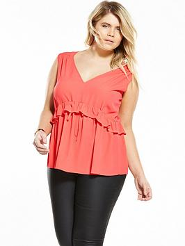 Lost Ink Curve Top With Frill Waist
