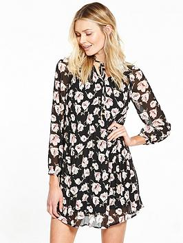 v-by-very-pleated-floral-print-long-sleeve-dress