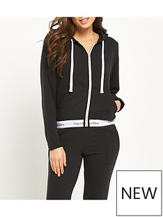 calvin-klein-modern-cotton-lounge-zip-through-hooded-top-black