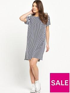 replay-stripe-oversized-pocket-t-shirt-dress