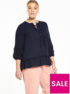 lost-ink-curve-smock-top-with-lace-up-navy