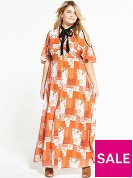 lost-ink-curve-cold-shoulder-printed-maxi-dress