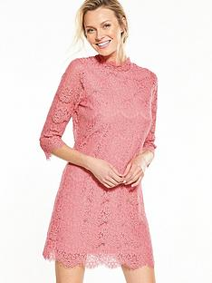 v-by-very-high-neck-lace-dress-navypeachnbsp