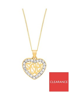 the-love-silver-collection-sterling-silver-gold-plated-cubic-zirconia-sister-heart-pendant