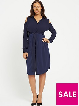 rochelle-humes-maternity-shirt-dress-navy
