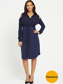 rochelle-humes-maternity-shirt-dress-navy