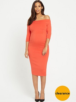 rochelle-humes-maternity-bodycon-dress-red