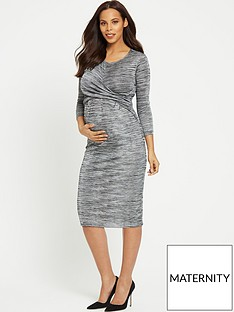 rochelle-humes-maternity-bodycon-dress-grey