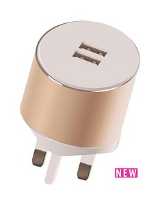 kit-platinum-dual-mains-charger-34a-for-all-iphoneipadtabletsmartphone-with-two-usbnbspcharging-ports