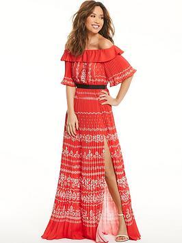 myleene-klass-pleated-bardot-maxi-dress-red
