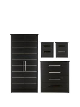 Consort Liberty Ready Assembled 4 Piece Package - 2 Door Wardrobe, 4 Drawer Chest And 2 Bedside Cabinets thumbnail