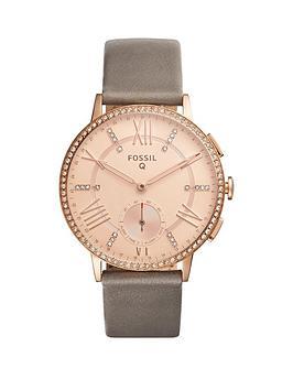 fossil-q-gazer-rose-dial-leather-strap-ladies-hybrid-smart-watch