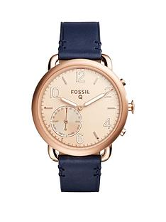 fossil-q-tailor-rose-tone-dial-leather-strap-ladies-hybrid-smart-watch
