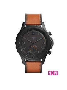 fossil-fossil-q-nate-black-dial-tan-leather-strap-mens-hybrid-smart-watch