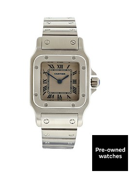 cartier-cartier-preowned-santos-off-white-dial-blue-roman-numerals-reference-1565-stainless-steel-ladies-wat