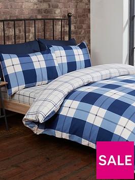 cascade-home-brushed-100-cotton-check-duvet-cover-set