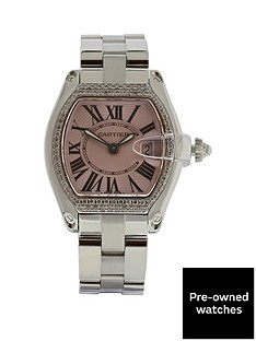 cartier-cartier-preowned-steel-roadster-pink-dial-aftermarket-diamond-bezel-reference-2675-ladies-watch