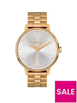 nixon-kensington-white-dial-gold-tone-stainless-steel-bracelet-ladies-watch