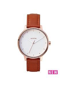 nixon-kensington-white-dial-rose-tone-case-brown-leather-strap-ladies-watch