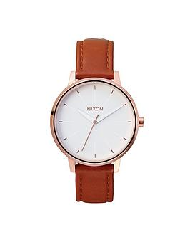 nixon-kensington-white-dial-rose-tone-case-brown-leather-strap-ladies-watch