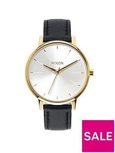 nixon-kensington-white-dial-gold-tone-case-black-leather-strap-ladies-watch